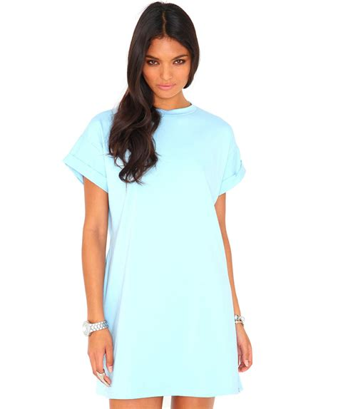 missguided davina oversized tshirt dress in baby blue in blue lyst