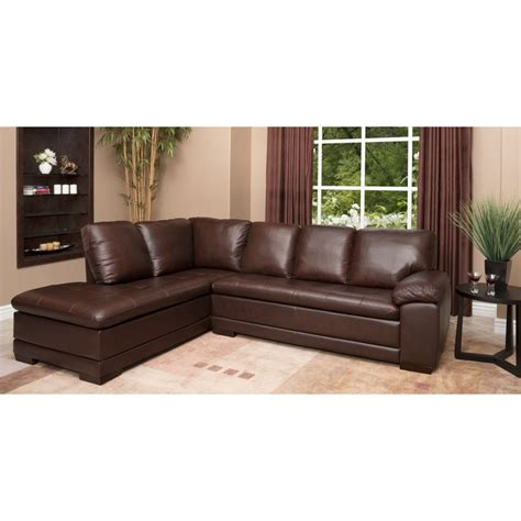 overstock leather sectional abbyson living cooper top grain leather sectional
