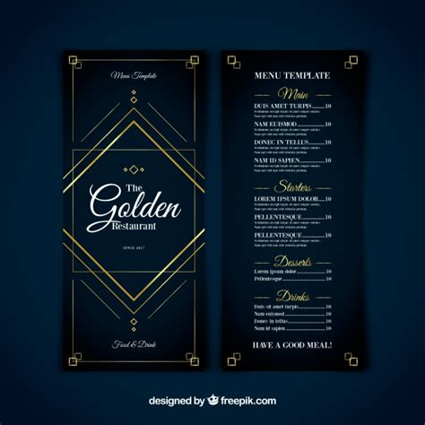 modern menu template modern menu template with golden ornaments vector free