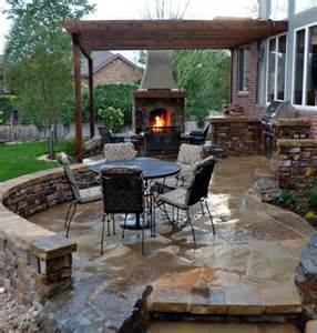 Flagstone patio w stacked stone wall garden pinterest