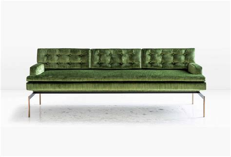 green velvet tufted sofa mancini sofa with tufted back in green velvet and silicon