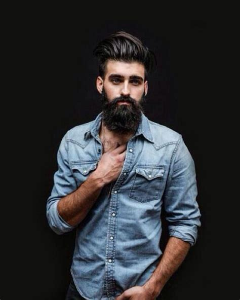 my guy on pinterest beards pocket squares and men wedding bands denim shirt beard hairstyle hipster fashion man