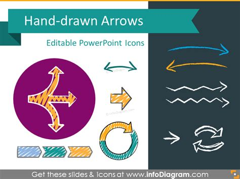 free doodle powerpoint template extensive 251 editable arrows icon set for