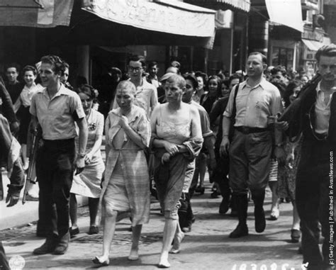 French Female Nazi Collaborators With Shaved Heads Marched | mochi thinking vintage photos war wwii collaborators