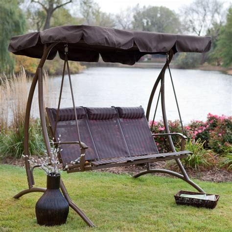outdoor 3 person swing 9 cool and cozy patio swing with canopy designs