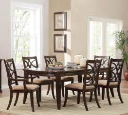 dining room set 7 piece homelegance keegan 7 piece 62x42 dining room set in brown