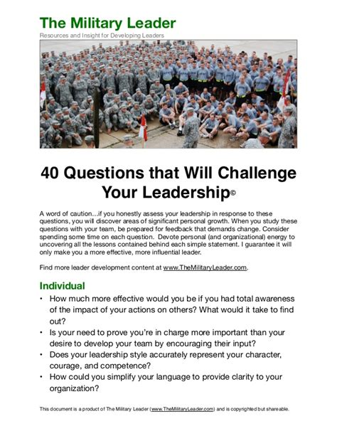 40 questions that will challenge your leadership from the l