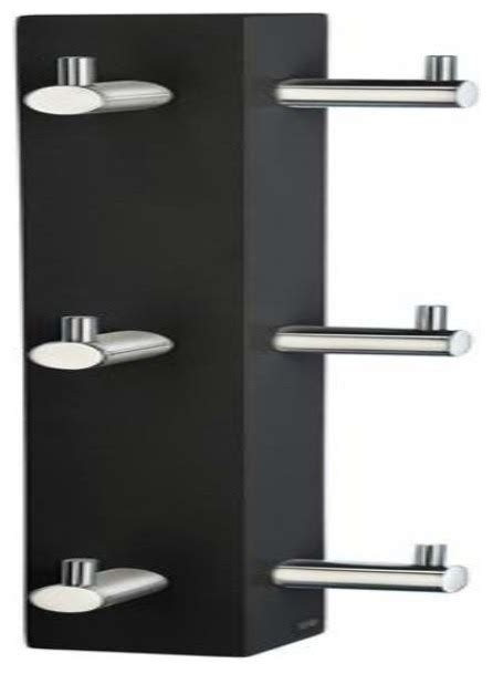 smedbo vertical 6 hook rack black chrome steel vertical