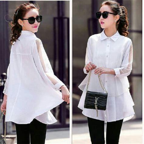 Baju Kemeja Polos Panjang Wanita baju kemeja panjang putih polos wanita modis model terbaru