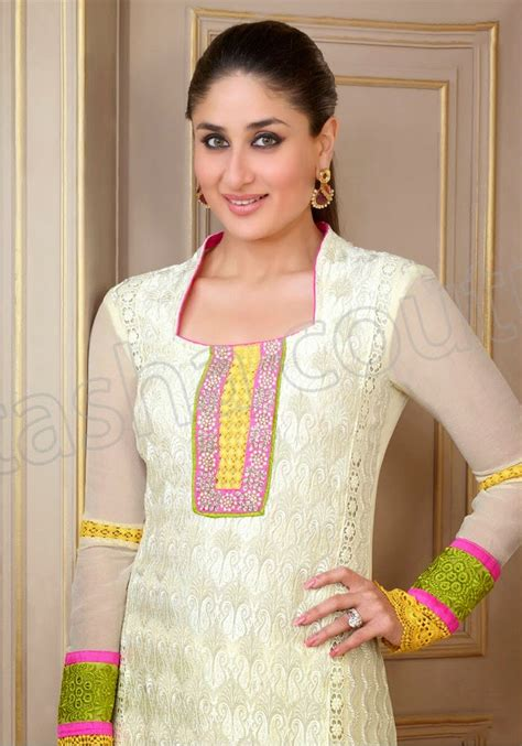 in suite designs semi georgette salwar suits 2014 2015 kareena kapoor