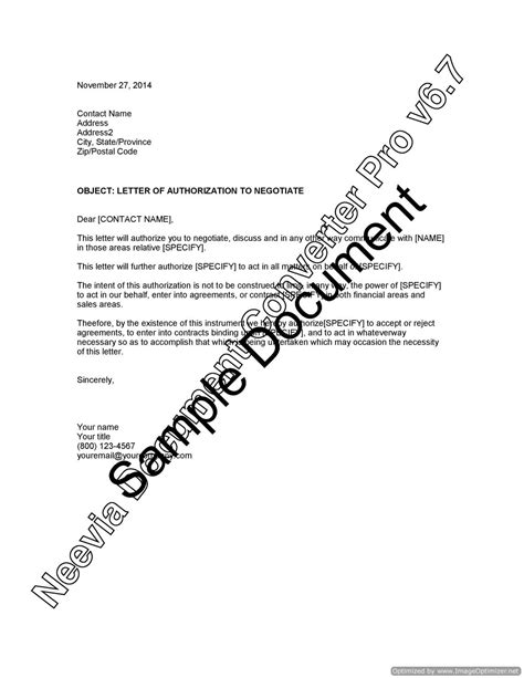 letter of authorization to negotiate lawyer au