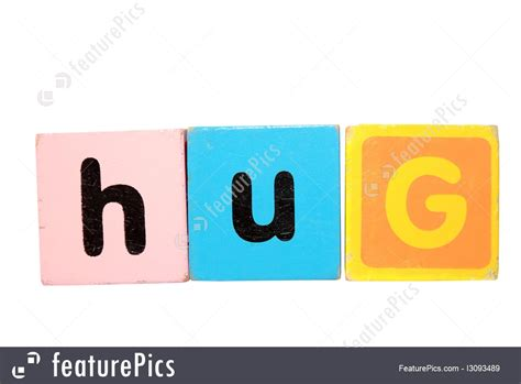 Letter Closing Hugs Signs And Info Hug In Play Block Letters With Clipping Path On White Stock Picture