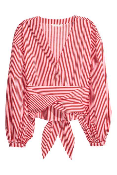 Hm Blouse White tie cotton blouse white striped sale h m us