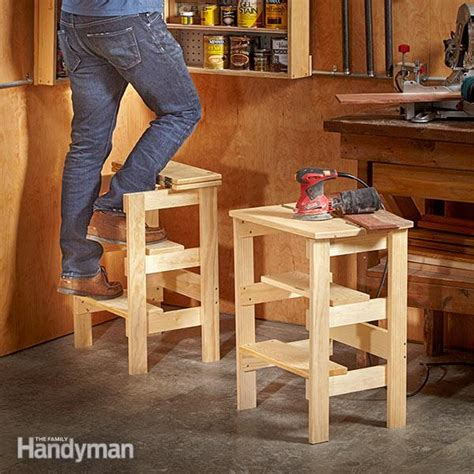 work bench chair ridiculously simple shop stool plans the family handyman