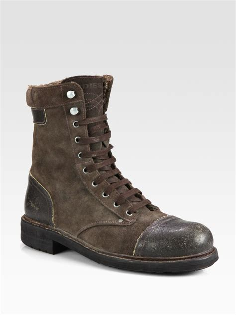 diesel butch cassidy laceup boot in brown for