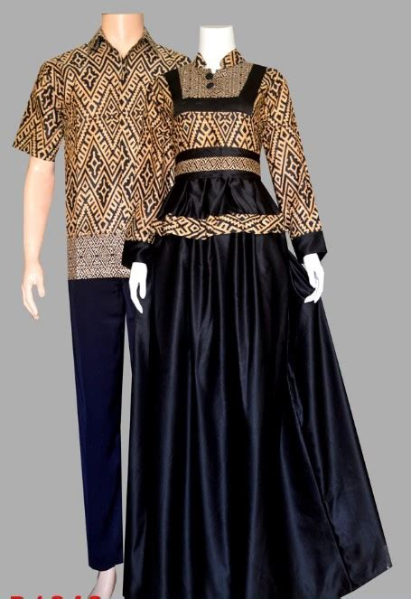 model baju gamis batik kombinasi polos couple
