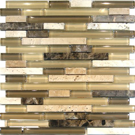 mosaic backsplash tiles sle travertine emperador glass brown beige mosaic