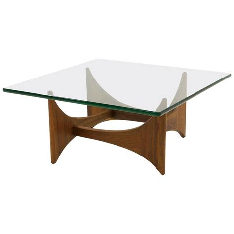 Square Glass And Walnut Coffee Table By Adrian Pearsall Adrian Pearsall Coffee Table For Sale