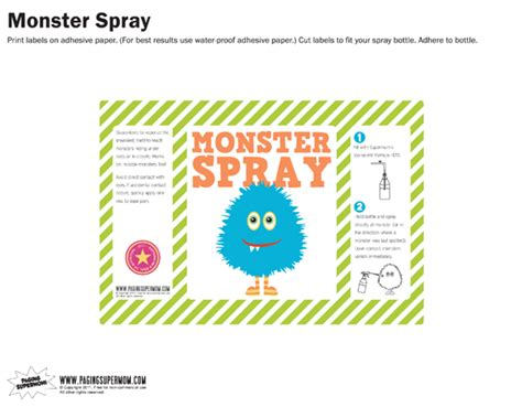 printable label for monster spray monster spray free printable label blue paging supermom