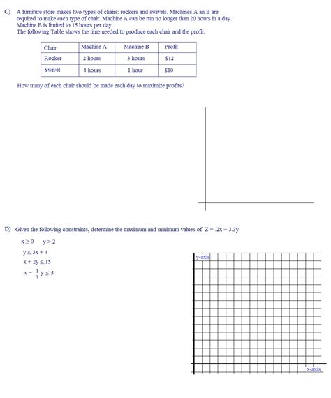 Linear Word Problems Worksheet by Linear Programming Word Problems Worksheet Lesupercoin