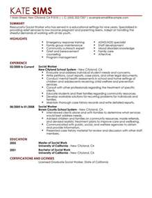 summary resume sle for social worker and