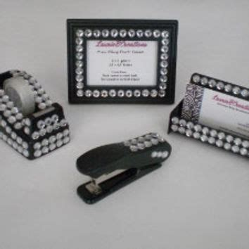 Rhinestone Desk Accessories Black Bling Desk Accessories Set From Lauriebcreations Bling