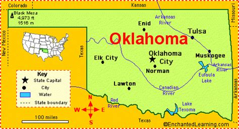 oklahoma rivers map oklahoma facts map and state symbols enchantedlearning