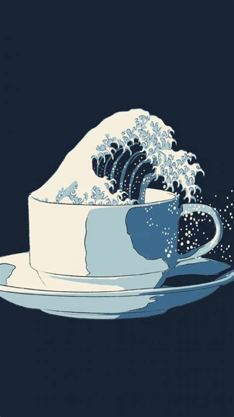 great wave  kanagawa tea cup wallpaper