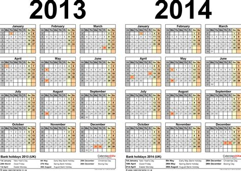 2013 And 2014 Calendar Template two year calendars for 2013 2014 uk for excel