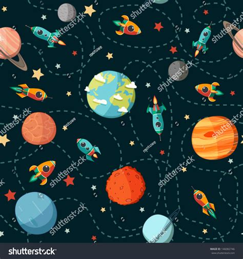 space and pattern in art seamless space pattern planets rockets stars stock vector