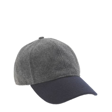 j crew colorblock wool baseball cap in gray grey navy lyst