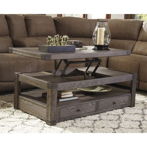 Ashley Burladen Rectangular Lift Top Coffee Table in Grayish Brown   T846 9