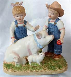 Home Interior Denim Days Figurines 1985 Homco Figurine Denim Days Prize Pig Porcelain By