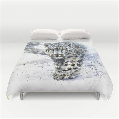 snow leopard bedding snow leopard duvet cover by kostart society6