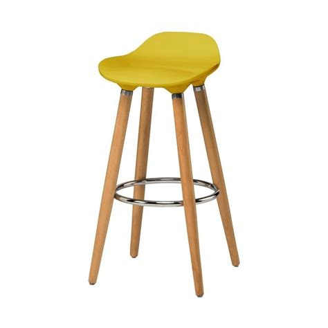 bar stool buy buy yellow plastic bar stool with beech wood legs from