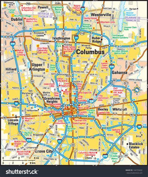 Simple Search Ohio Columbus Ohio Area Map Stock Vector Illustration 144155632