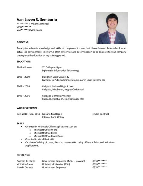 sle of resume for ojt tourism students sle resume for ojt
