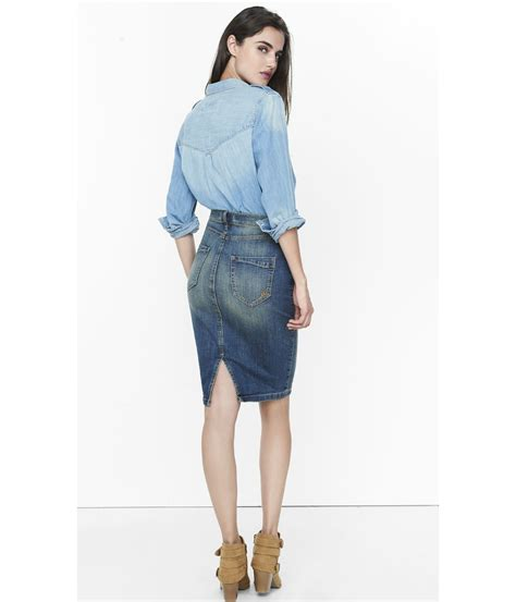 denim high waisted pencil skirt dress