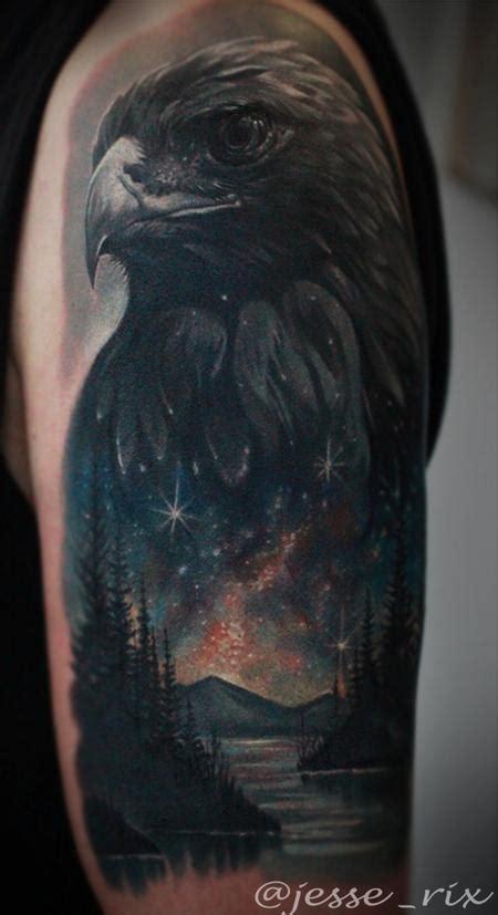 black and grey galaxy tattoo eagle space lake tattoo by jesse rix tattoos