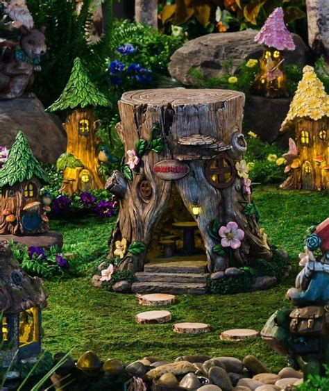 fairy home decor tree stump lighted fairy house fresh garden decor