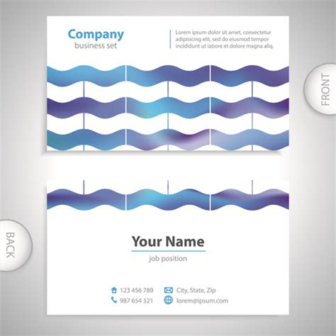 card template with front and back excellent business cards front back template vector free