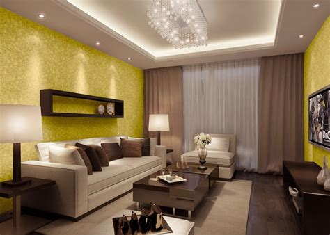 yellow wallpaper night rendering in living room download