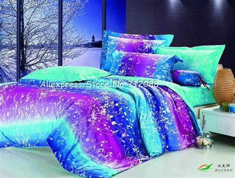 purple and blue bedroom 4 pcs duvet quilt covers 100 cotton leaves pattern olive