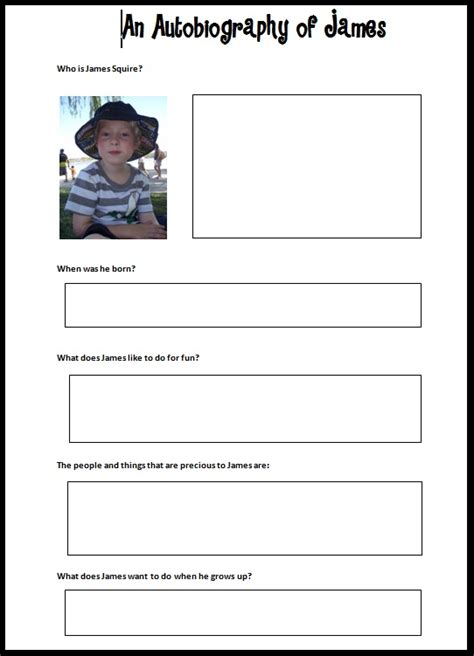 student biography card template autobiography template madinbelgrade