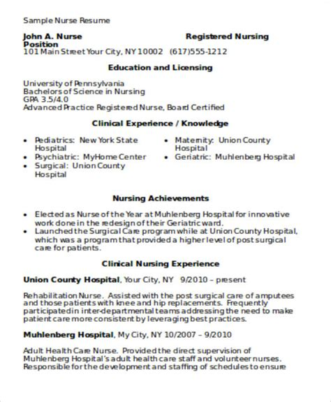 nursing resume exles with clinical experience 4 sle graduate resumes sle templates