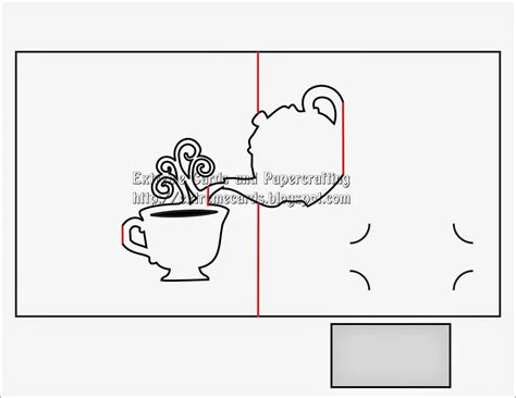 pop out card template teapot and cup pop up card
