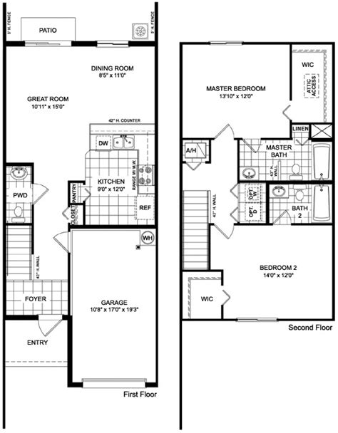2 bedroom townhouse floor plans two story townhome designs joy studio design gallery