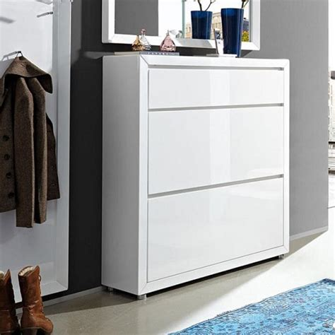 fino shoe cabinet in white gloss with 1 drawer and 2 doors