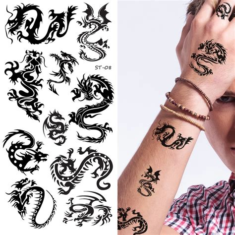 6 pack tattoo supperb 174 mix dragons temporary 6 pack