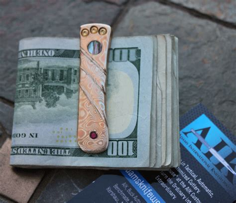 Handmade Money Clip - handmade money clip w mokume abalone inlay ruby